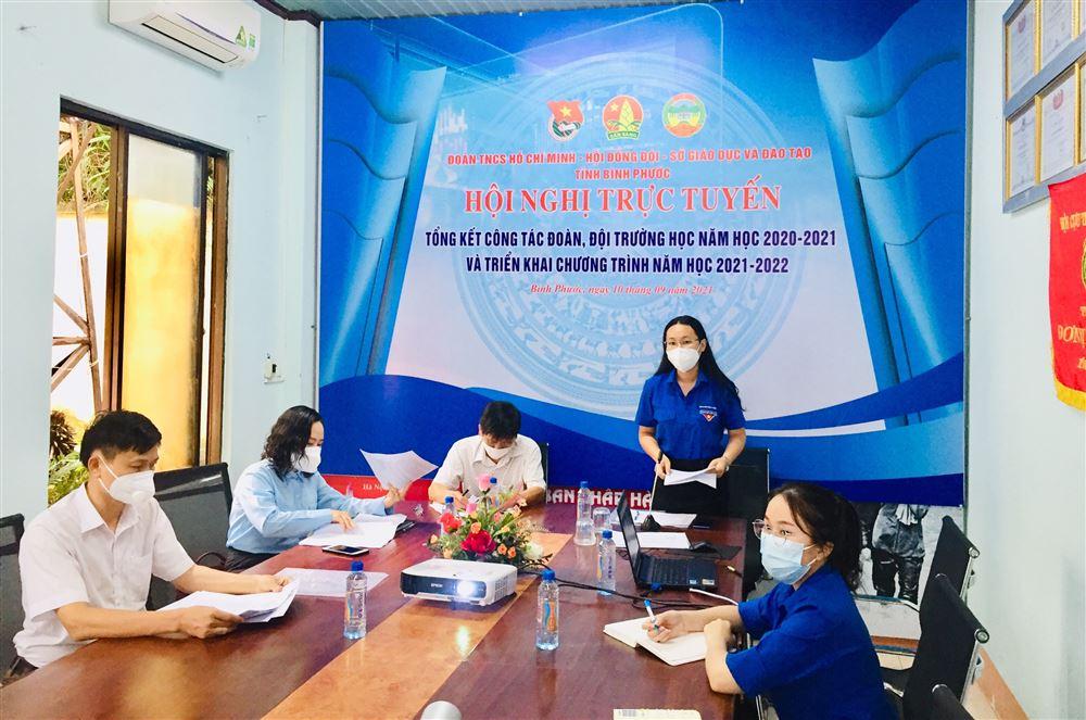 Bình Phước: Hội nghị trực tuyến tổng kết công tác Đoàn, Đội trường học năm học 2020 - 2021, triển khai chương trình năm học 2021 - 2022