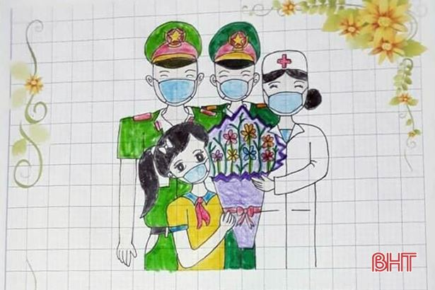 Thiếu nhi Hà Tĩnh viết thư chúc sức khỏe lực lượng tuyến đầu, góp tiền ủng hộ chống dịch Covid-19