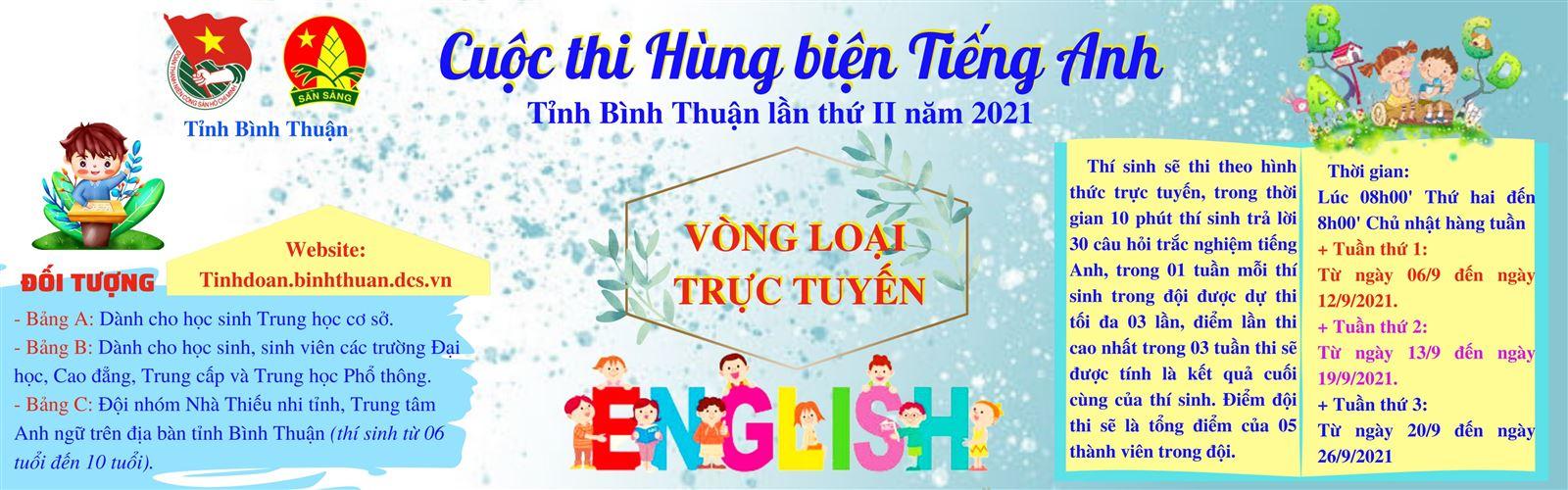 """Cuộc thi """"Hùng biện Tiếng Anh"""" tỉnh Bình Thuận lần thứ II, năm 2021"""